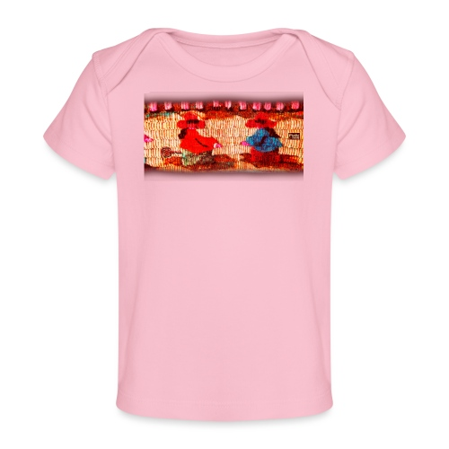 Dos Paisanitas tejiendo telar inca - Baby Bio-T-Shirt
