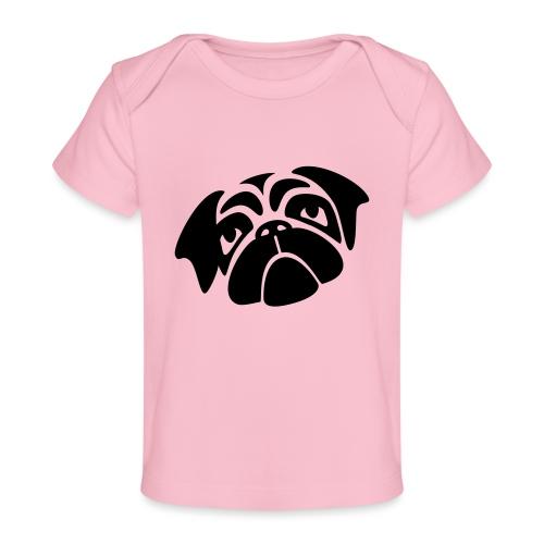 Mops mit schiefen Gesicht - Baby Bio-T-Shirt