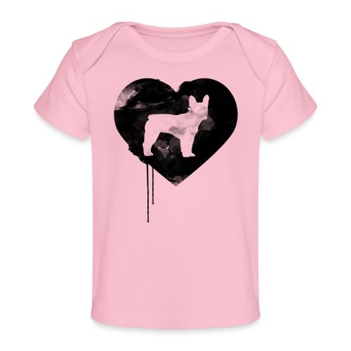 Französische Bulldogge Herz mit Silhouette - Baby Bio-T-Shirt