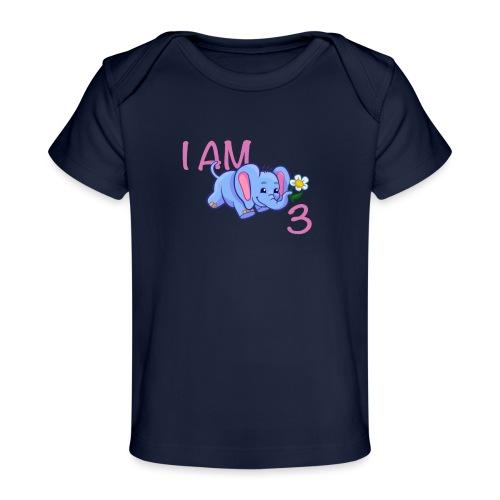 I am 3 - elephant pink - Organic Baby T-Shirt