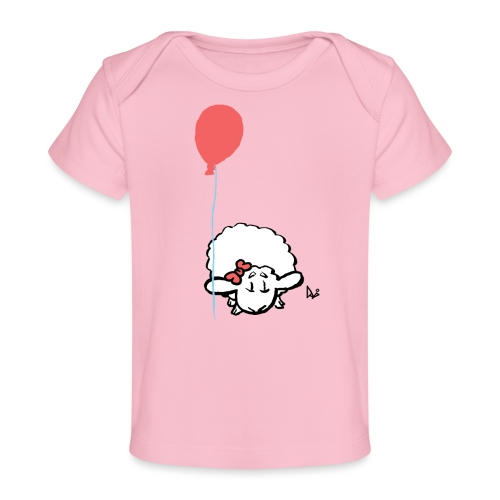 Baby Lamb with balloon (pink) - Baby bio-T-shirt