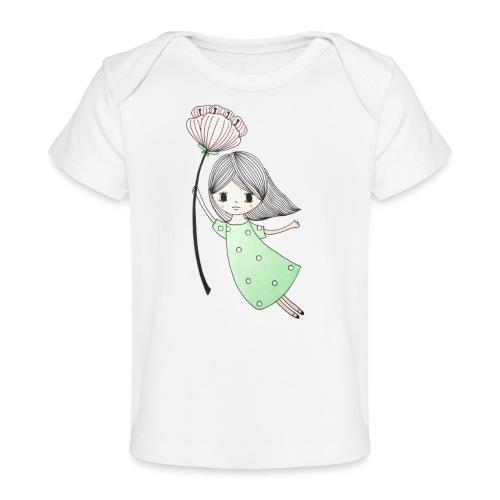meisje met bloem - Baby bio-T-shirt