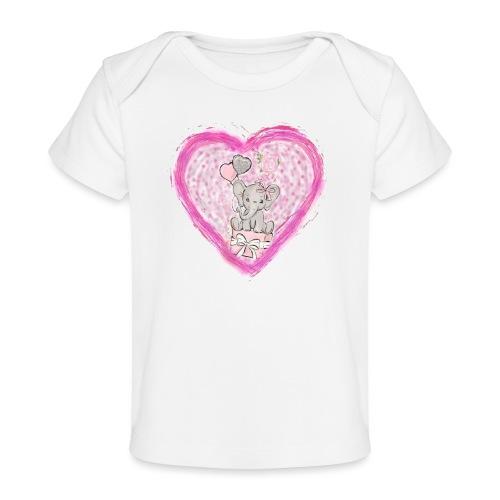 Your-Child pink heart - Økologisk T-shirt til baby