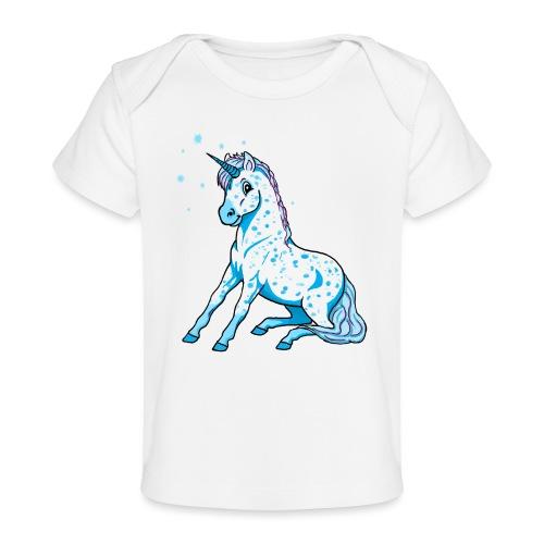 Pünktchen Einhorn Blau - Baby Bio-T-Shirt