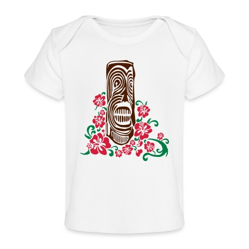 Tiki Totem with Hibiscus Flowers - Organic Baby T-Shirt
