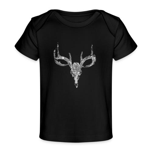 Deer skull with rose - Vauvojen luomu-t-paita