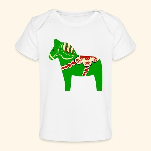 Grön dalahäst - Ekologisk T-shirt baby