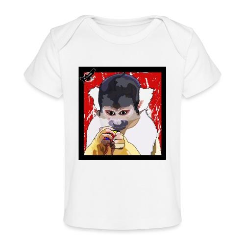 'Clever Monkey 2' by BlackenedMoonArts, w. logo - Økologisk T-shirt til baby