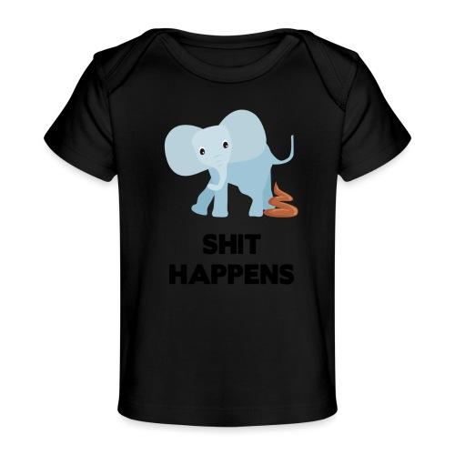 olifant met drol shit happens poep schaamte - Baby bio-T-shirt