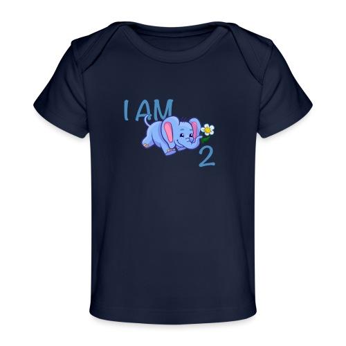 I am 2 - elephant blue - Organic Baby T-Shirt