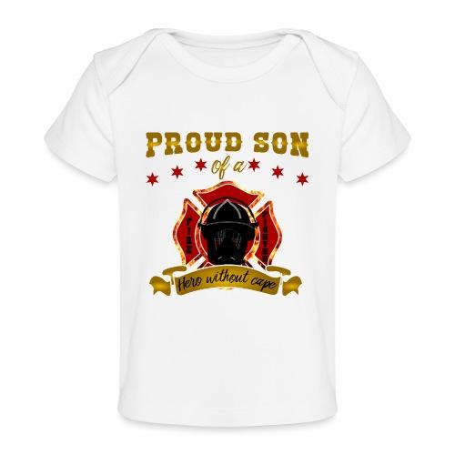 Stolzer Sohn Feuerwehrmann Hero Helden - Baby Bio-T-Shirt