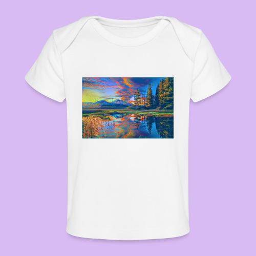 Paesaggio al tramonto con laghetto stilizzato - Maglietta ecologica per neonato