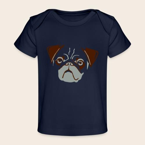 otiz mops kopf 2farbig - Baby Bio-T-Shirt