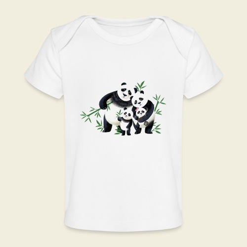 Pandafamilie zwei Kinder - Baby Bio-T-Shirt