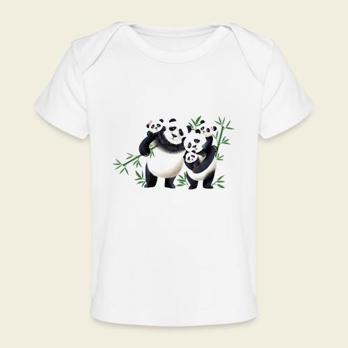 Pandafamilie drei Kinder - Baby Bio-T-Shirt