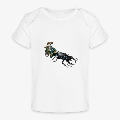 King Charles Spaniel with Stag beetle steed - Organic Baby T-Shirt