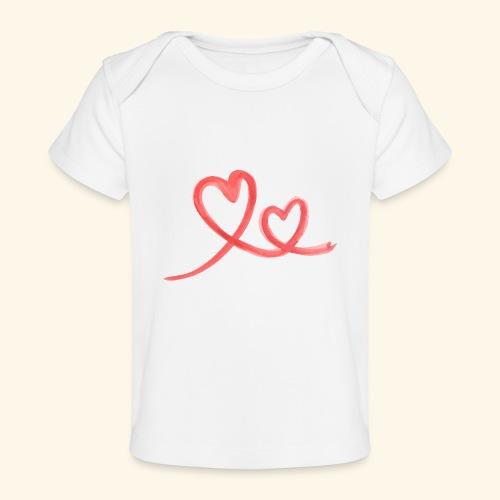Duo Cœur Main levée - Saint Valentin - T-shirt bio Bébé