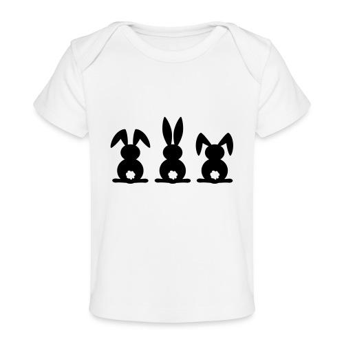 Konijn silhouet. Vrolijk Pasen of paas feest. Ei. - Baby bio-T-shirt