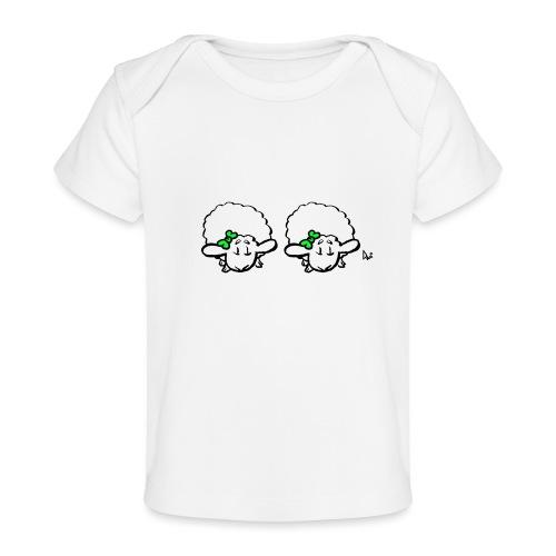 Baby Lamb Twins (grønn og grønn) - Økologisk baby-T-skjorte