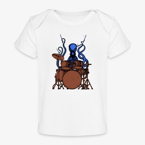 Oktopus spielt Schlagzeug - Baby Bio-T-Shirt