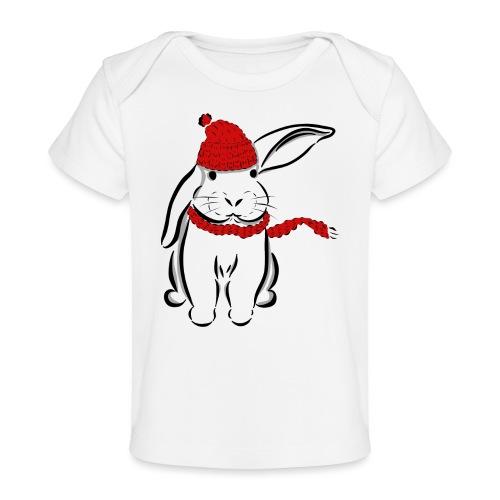 Kaninchen Hase Mütze Schal Schlappohr Schneehase - Baby Bio-T-Shirt