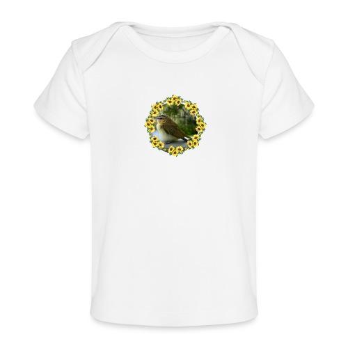 Vögelchen im Blumenkranz - Baby Bio-T-Shirt