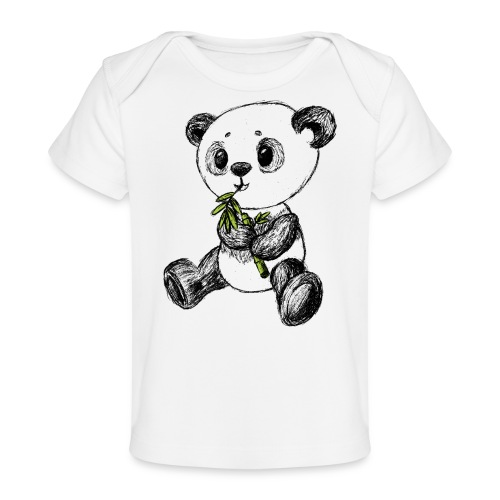 Panda Bär farbig scribblesirii - Baby Bio-T-Shirt