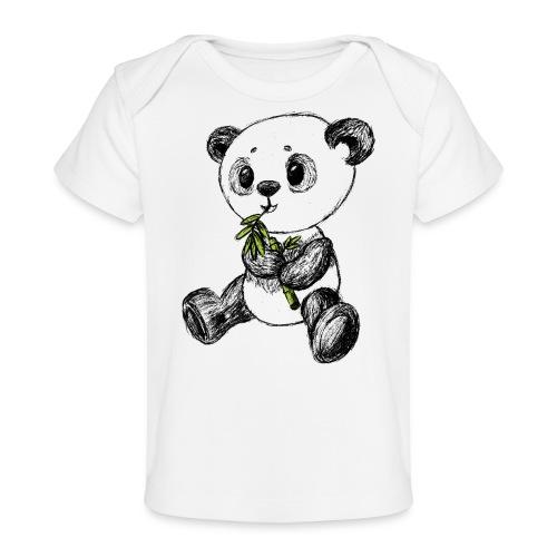 Panda bjørn farvet scribblesirii - Økologisk T-shirt til baby