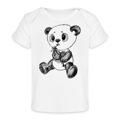 Panda bjørn sort scribblesirii - Økologisk T-shirt til baby