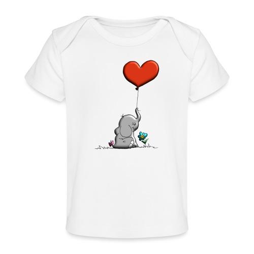 Éléphant, coeur rouge, der Elefant - T-shirt bio Bébé