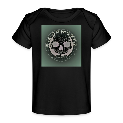 Rigormortiz Dark Solid Background Logo Design - Organic Baby T-Shirt