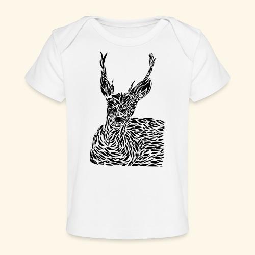 deer black and white - Vauvojen luomu-t-paita