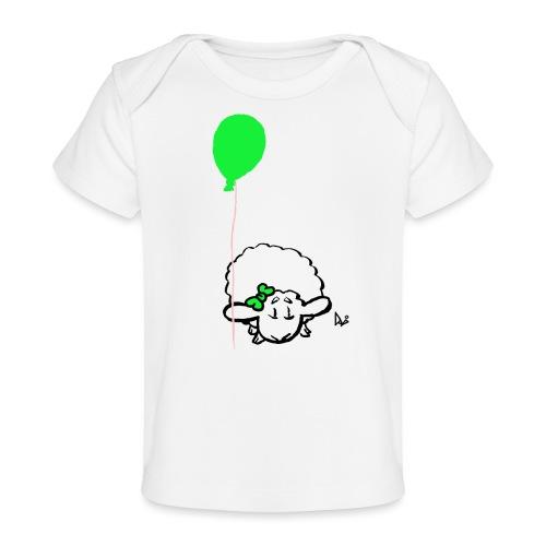 Baby Lamm mit Ballon (grün) - Baby Bio-T-Shirt