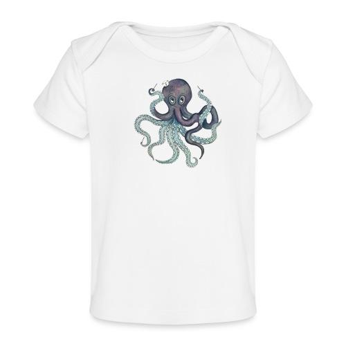 Oktopus mit schwarzem Logo - KlingBim Kinderlieder - Baby Bio-T-Shirt