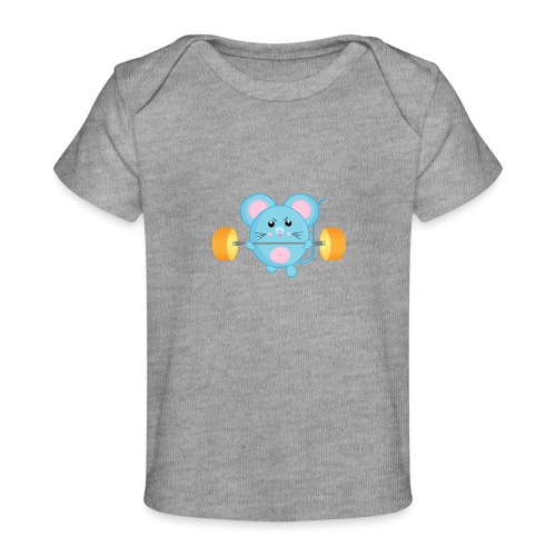 little mouse, mouse, mouse on sports, mouse with barbell - Organic Baby T-Shirt