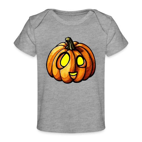 Pumpkin Halloween watercolor scribblesirii - Økologisk T-shirt til baby