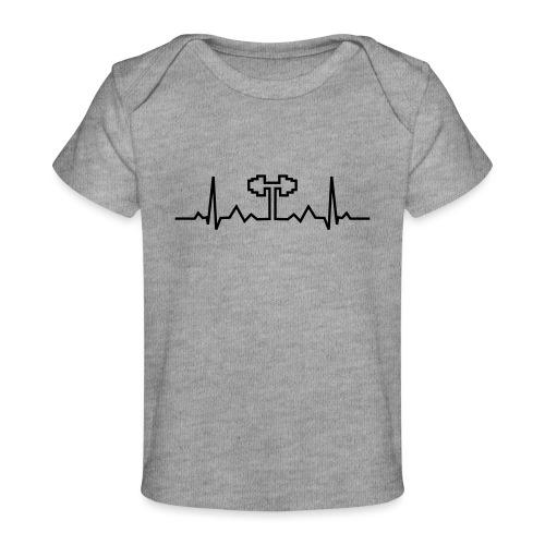 Herzschlag-Hantel, Bodybuilding, Crossfit, Fitness - Baby Bio-T-Shirt