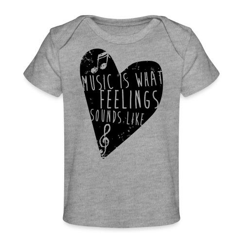 Music is feelings - Økologisk T-shirt til baby