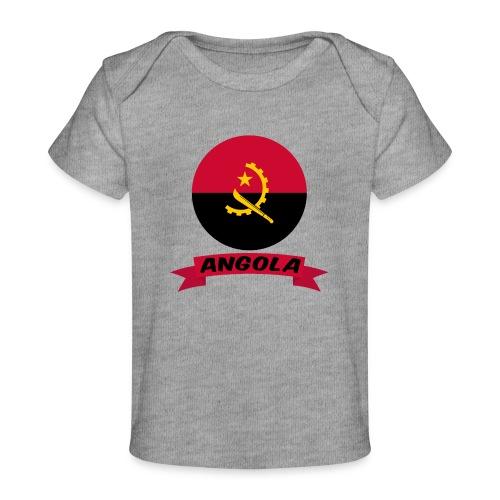 flag of Angola t shirt design ribbon banner - Maglietta ecologica per neonato