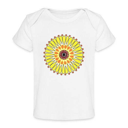 Yellow Sunflower Mandala - Organic Baby T-Shirt