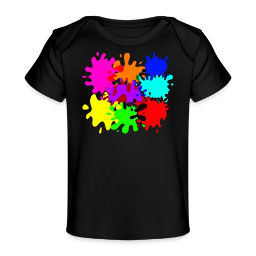 bunte Farbkleckse Paintballflecken - Baby Bio-T-Shirt