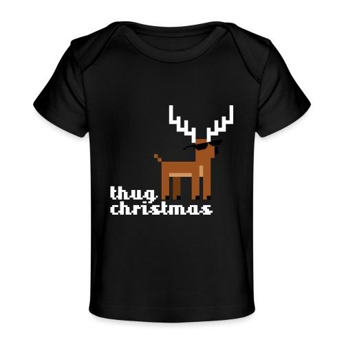 Christmas Xmas Deer Pixel Funny - Organic Baby T-Shirt