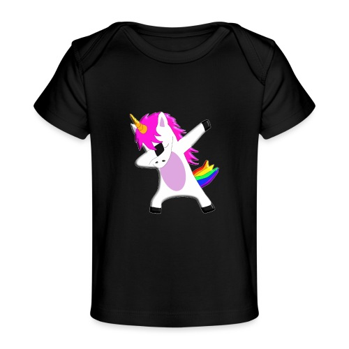 The Dabbing Unicorn - tanzendes Einhorn - Baby Bio-T-Shirt