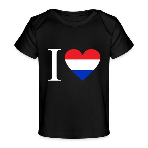 Ik hou van Nederland | Hart met rood wit blauw - Baby bio-T-shirt