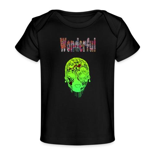 Maske mit Wonderful Schriftzug - Baby Bio-T-Shirt