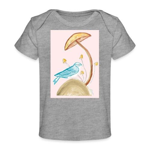 fungo con uccello - Maglietta ecologica per neonato