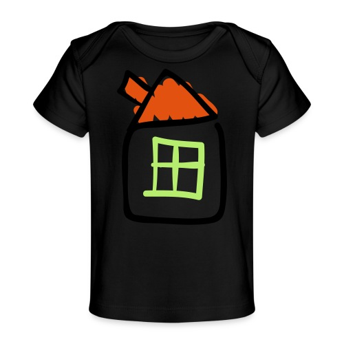 House Line Drawing Pixellamb - Baby Bio-T-Shirt