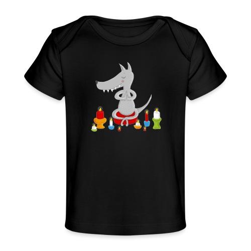 Zahmer Yoga Wolf am meditieren mit Kerzen - Baby Bio-T-Shirt