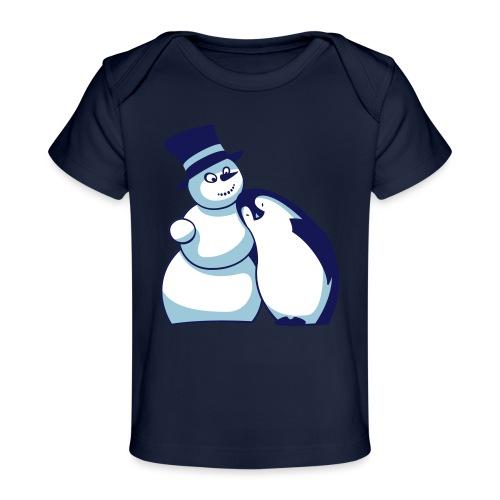 Schneemann und Pinguin - Baby Bio-T-Shirt