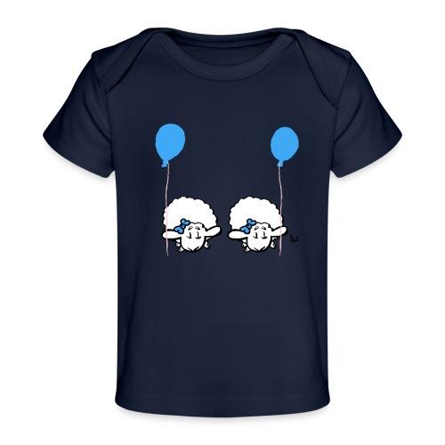 Baby lam tvillinger med ballon (blå og blå) - Økologisk T-shirt til baby